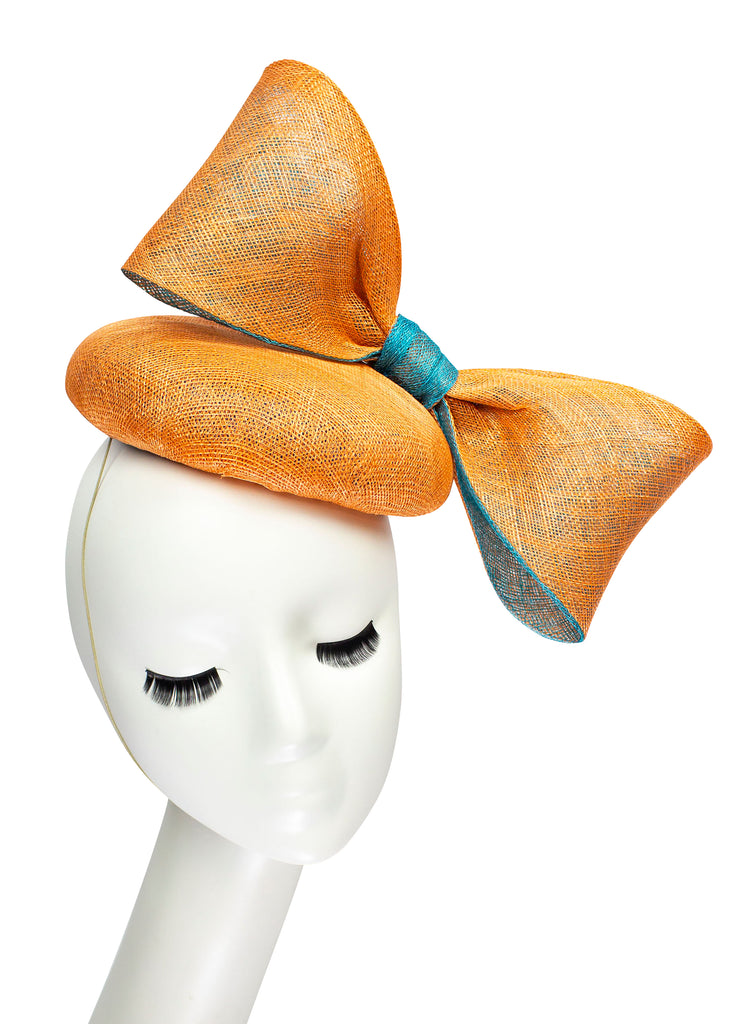 Sinamay Big Bow Button Fascinator - Orange & Aqua Blue