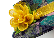 "Floral Printed Sinamay Hat with Sinamay Flower - ""Audrey"""