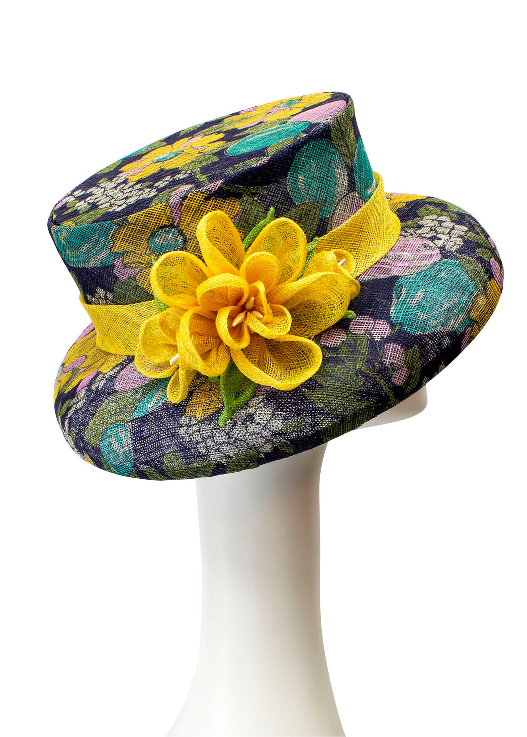 Floral Printed Sinamay Hat with Sinamay Flower -