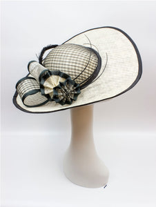 Sculptural Sinamay Windowpane Derby Hat