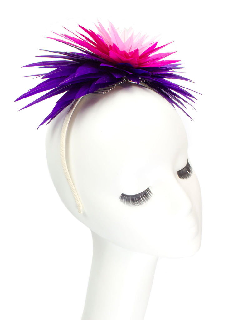 "Lotus Feather Flower Headband ""Amethyst"""