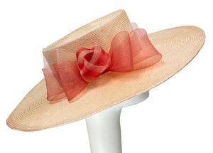 Pastel Pink Boater with Crinoline Bow and Band