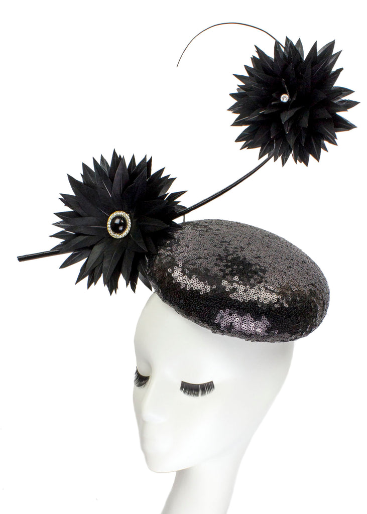 Black Mini Sequin Button Hat with Satellite Feather Flowers
