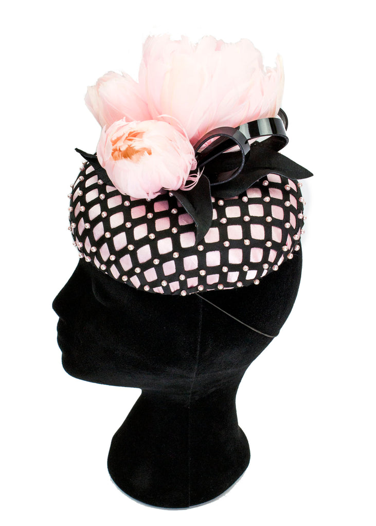 Patent, Pearls and Feather Peony Oval Button Fascinator