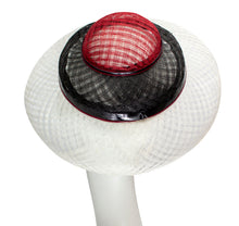 Sinamay Windowpane Triple Layer Derby Hat - Black, White and Red
