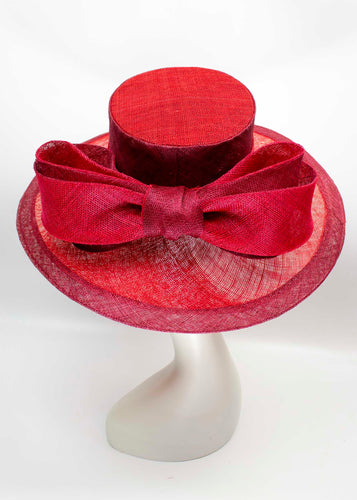 Maroon Big Bow Derby Hat