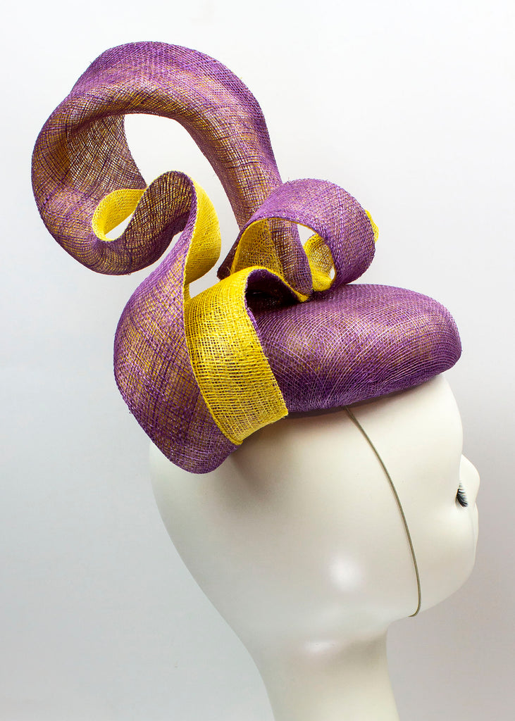 "Sculptural Sinamay Button Fascinator ""Circulate"" - Purple and Gold Sinamay"