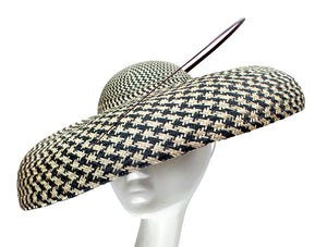 Dior Brim Buntal Large Derby Hat - Black & White