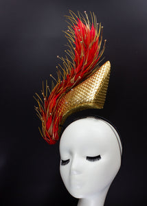 """Flaming"" Red and Gold Feather Floating Headpiece"