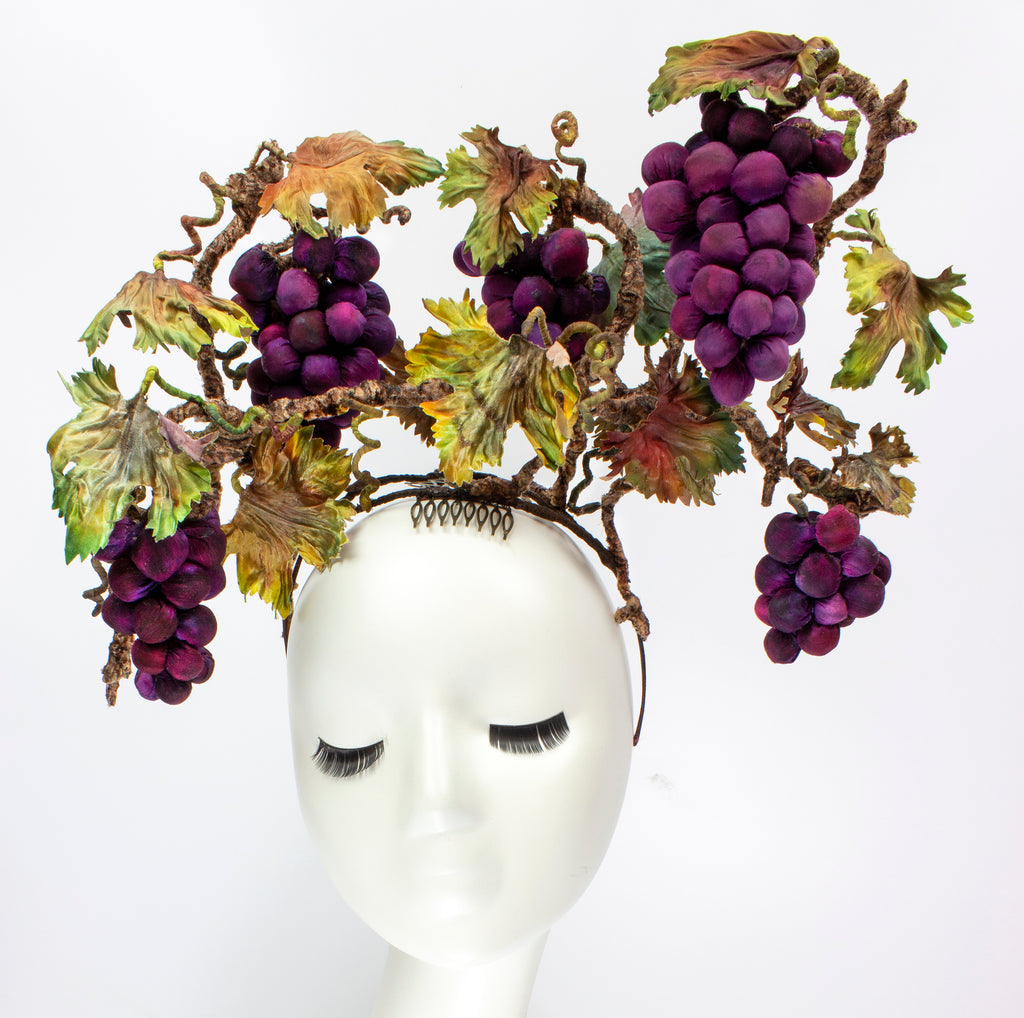 Vineyard Harvest - Silk and Wire Wearable Art Headpiece