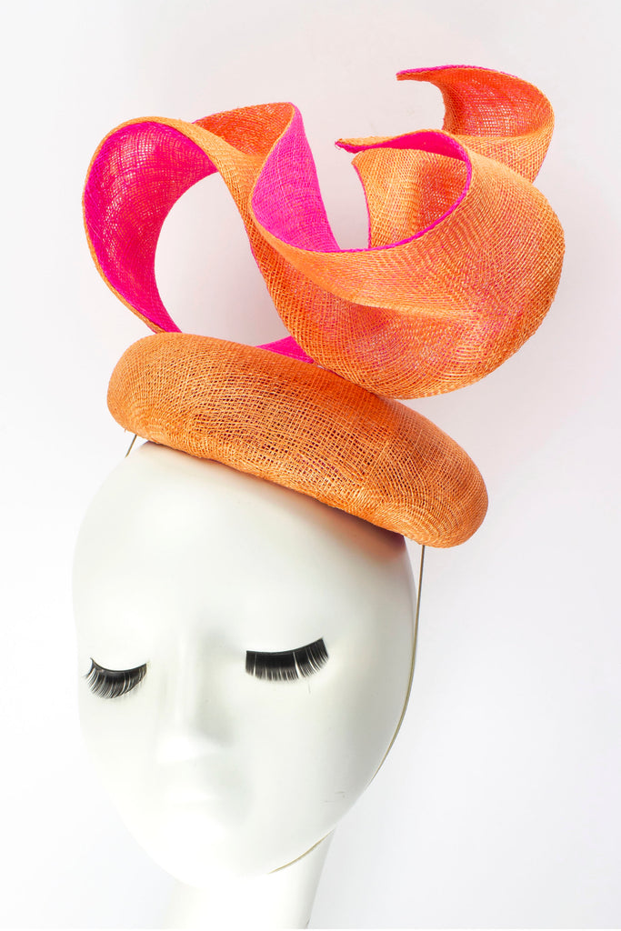 "Sculptural Sinamay Button Fascinator ""Infinity"" - Orange and Hot Pink Sinamay"