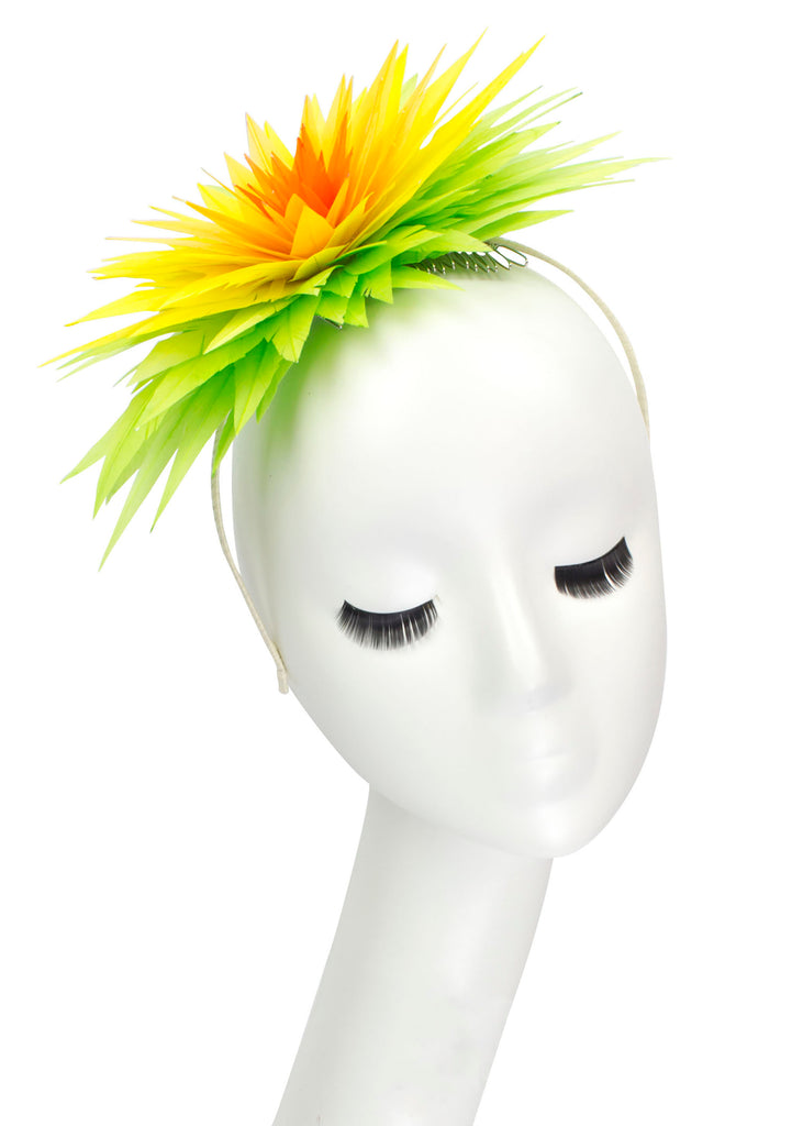 "Lotus Feather Flower Headband ""Citrus"""