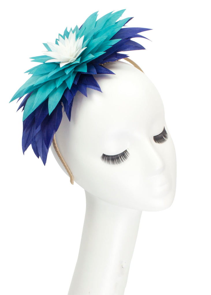 "Lotus Feather Flower Headband ""Sapphire"""