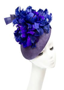 """Midnight Blooms"" Feather Flower Beret"