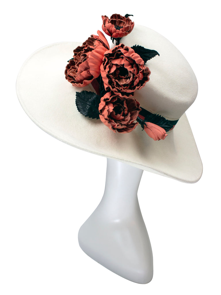 Winter White Felt with Sculpted Brim and Leather Flowers