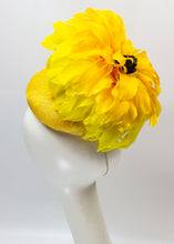 "Feather Flower Sinamay Button Fascinator ""Sunflower"""