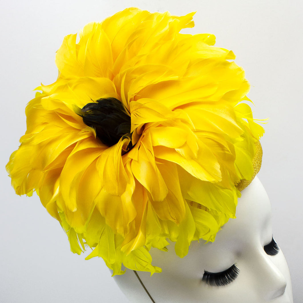Feather Flower Sinamay Button Fascinator