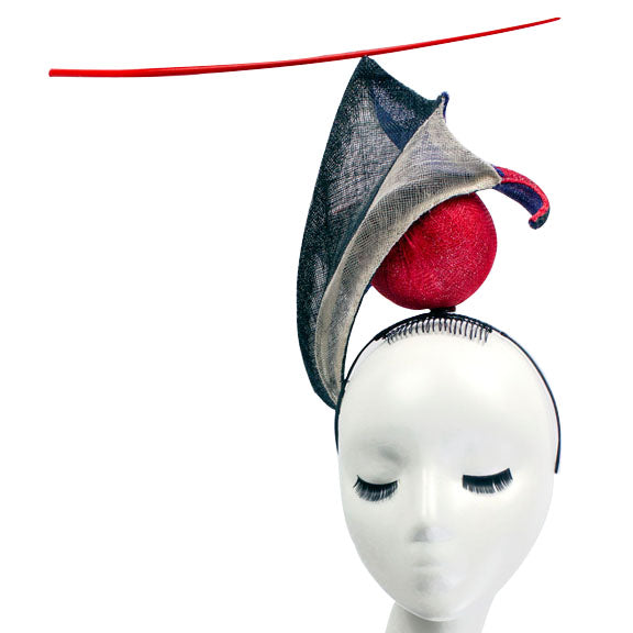 Vortex Orb - Sinamay and Wire Sculptural Headpiece by Millinery by Amy Fowler