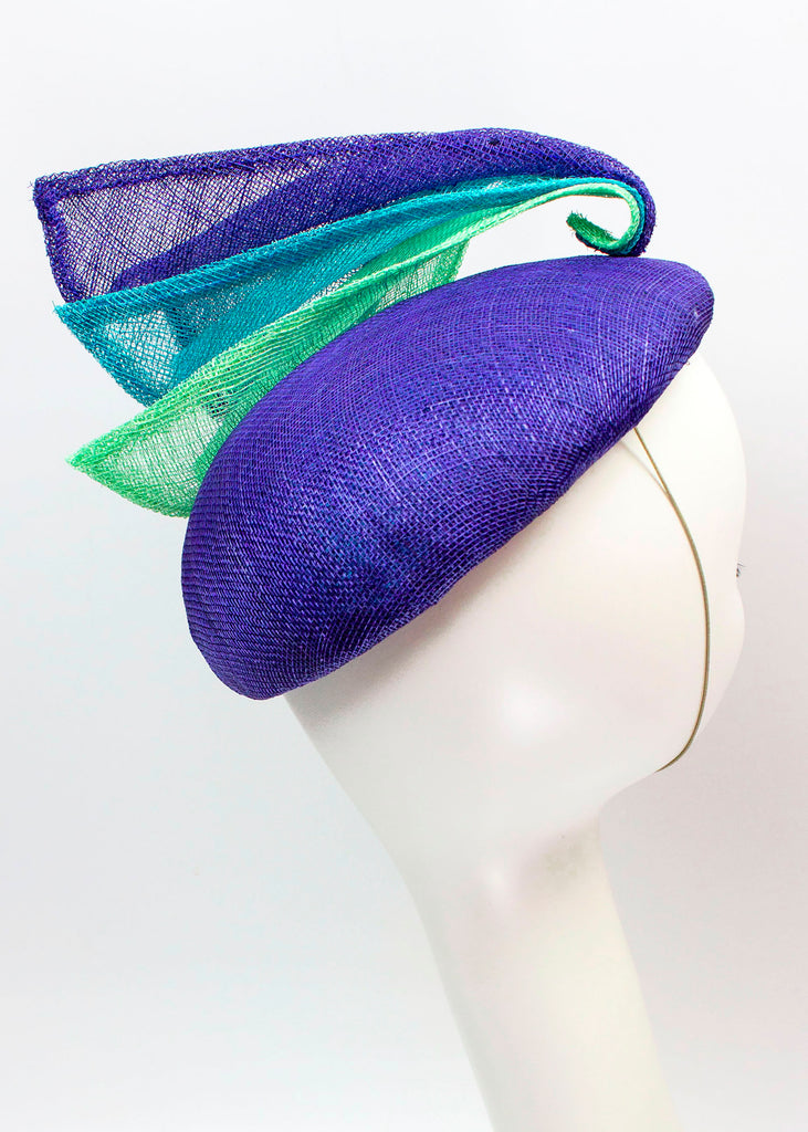 "Sculptural Sinamay Button Fascinator ""Waves"""