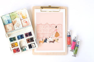 Dog Walker features a pink background with a girl walking dogs. An A4 Art Print illustrated by London based Emma Block