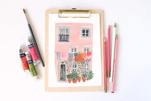 Lisbon Pink House takes inspiration from Alfama. An A4 Art Print illustrated by London based Emma Block