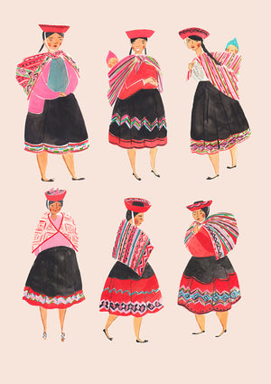 Peruvian Woman features 6 beautifully dressed woman in an A4 Art Print illustrated by London based Emma Block