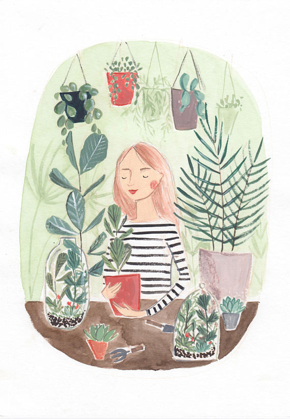 Plant Lady features pretty plants in an A4 Art Print illustrated by London based Emma Block