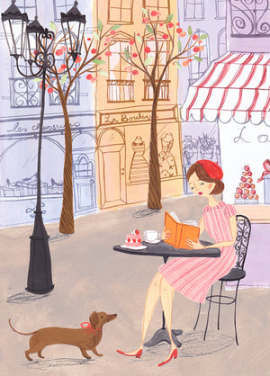 Spring Time in Paris features a French woman and dog sitting having a coffee. An A4 Art Print illustrated by London based Emma Block
