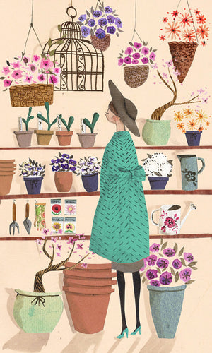 The Flower Shop featuring pretty flowers is an A4 Art Print illustrated by London based Emma Block