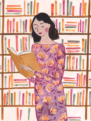 The Reader featuring bright books is an A4 Art Print illustrated by London based Emma Block