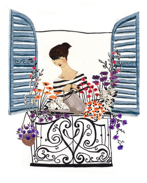 Window Box featuring beautiful flowers is an A4 Art Print illustrated by London based Emma Block