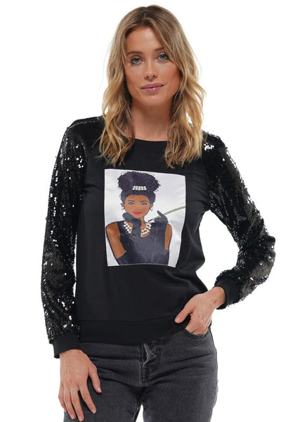 Princess Audrey Sequin Sleeve Shirt - ReservedChic