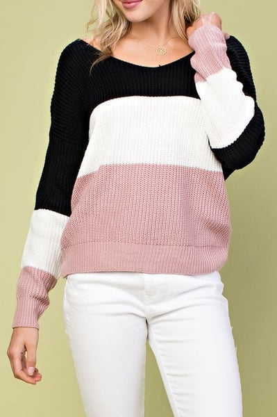 Color Block Twist-Back Knit Sweater - ReservedChic