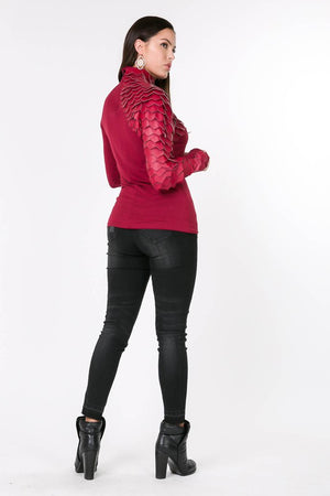 Leather Sleeve Shirt in Marsala - ReservedChic