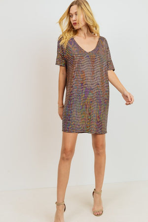 Into The Night Bronze Sequins Dress - ReservedChic