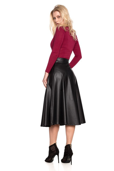Audrey Aim to Pleat Faux Leather Skirt - ReservedChic