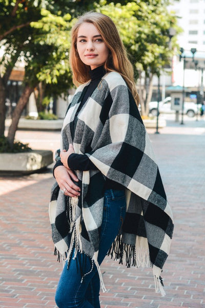Black and White Buffalo Check Tassel Poncho - ReservedChic
