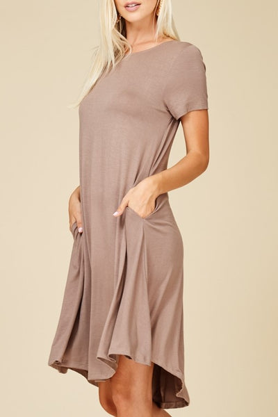 Flow Away Midi Dress With Side Pockets In Mocha - ReservedChic