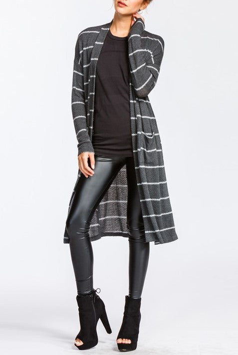 Mandy Charcoal Striped Cardigan - ReservedChic