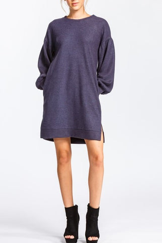Hazel Round Neck Brushed Knit Dress - ReservedChic