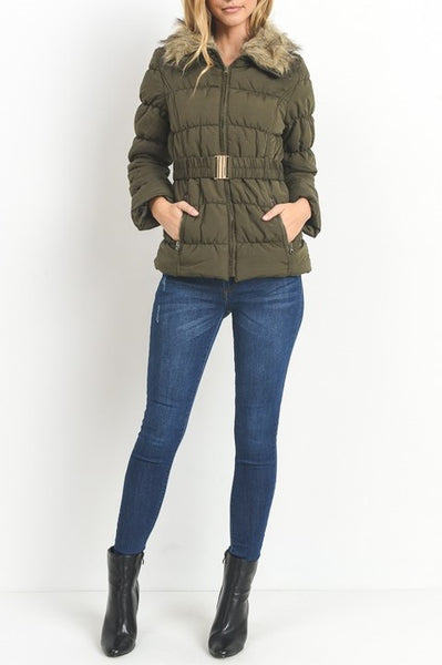 Warm Lady Anorak Coat With Faux Fur Collar - ReservedChic