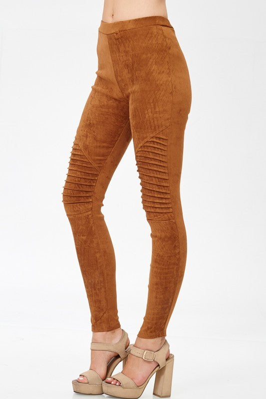 Faux Suede Moto Leggings - ReservedChic