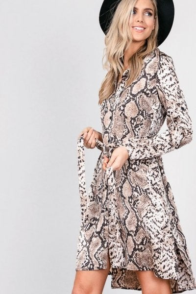 Phython Snake Print Shirt Dress - ReservedChic