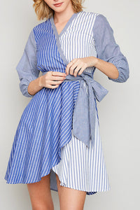 It's Chic Stripe Wrap Dress In Blue - ReservedChic