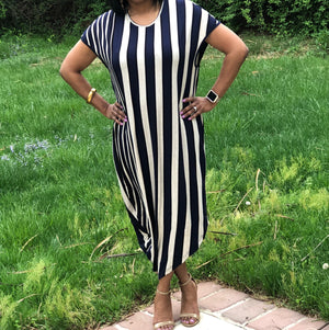 Happy Stripe Short Sleeve Asymmetrical Dress in Navy - ReservedChic