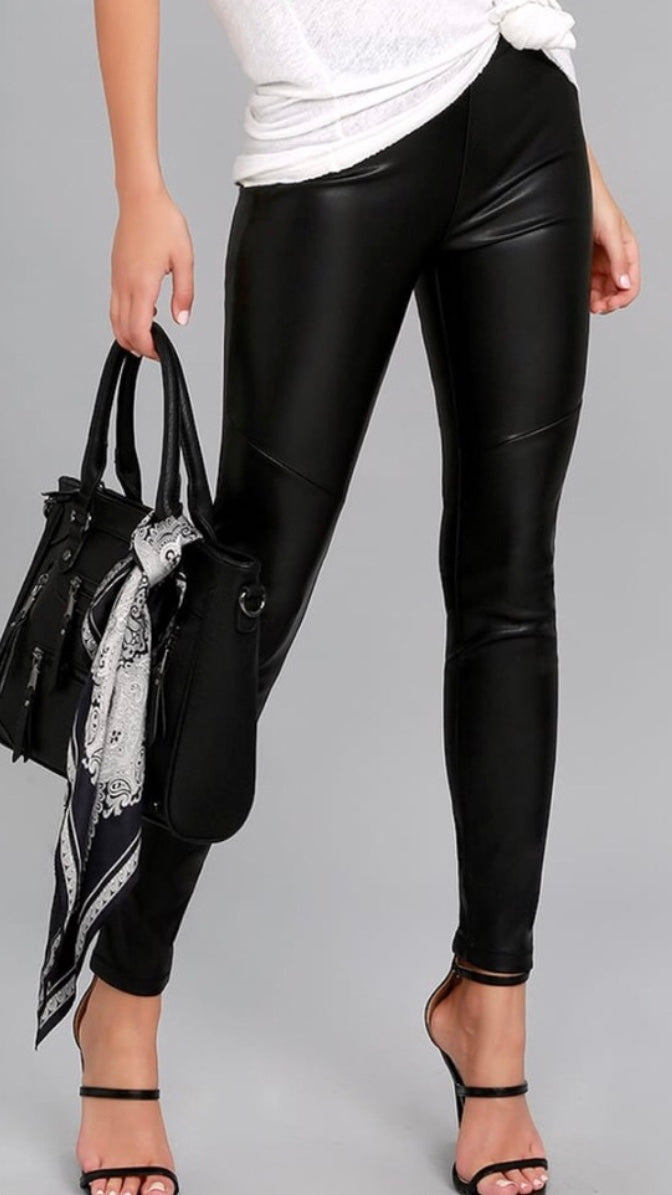 High Waisted Faux Leather Leggings - ReservedChic