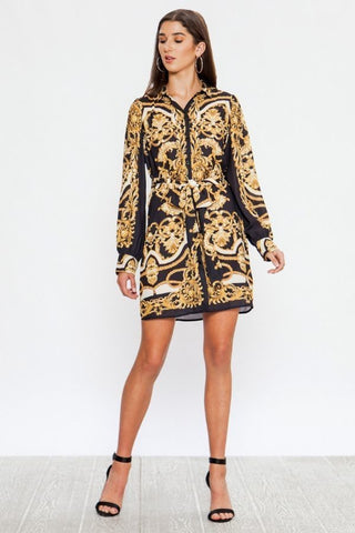 Baroque Print Shirt Dress - ReservedChic