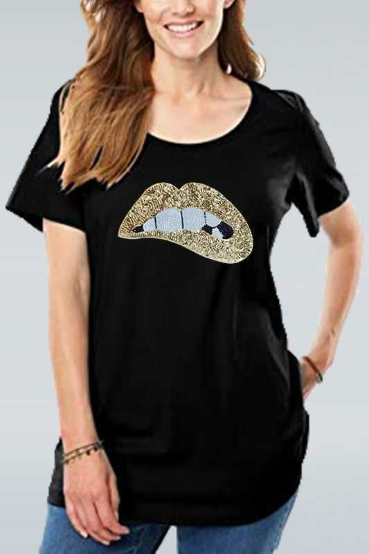Sequined Sparkly Glittery Gold Lip Print Tee - ReservedChic