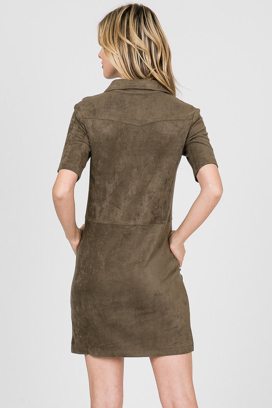 Popover Suede Shirt Dress in Olive - ReservedChic