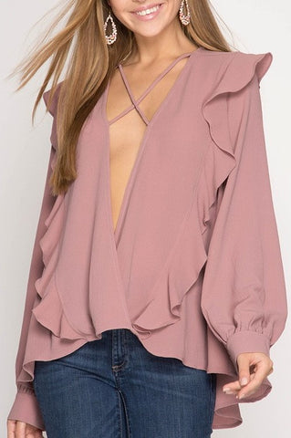 Sweet Catch Surplice Long Sleeve Blouse In Dusty Rose - ReservedChic